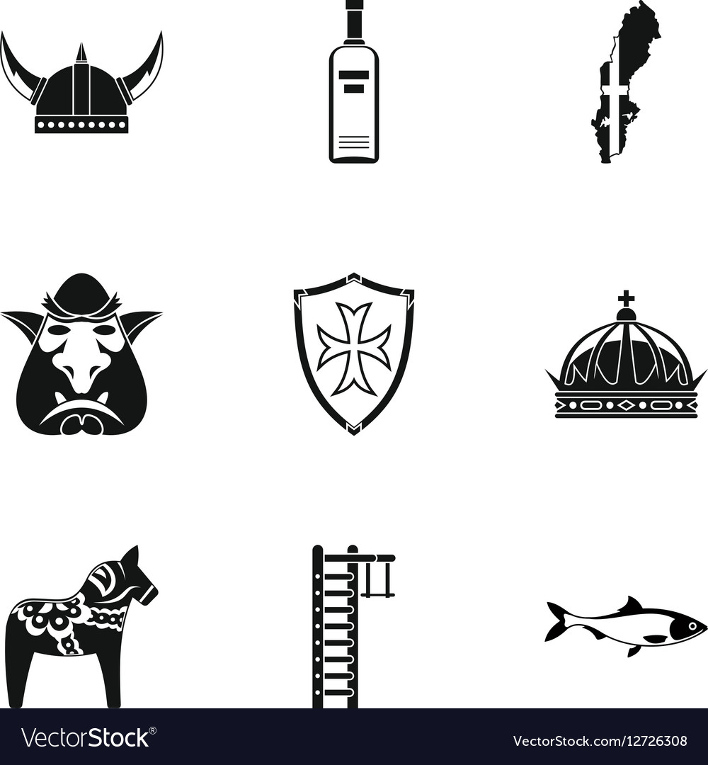 Country of Vikings icons set simple style