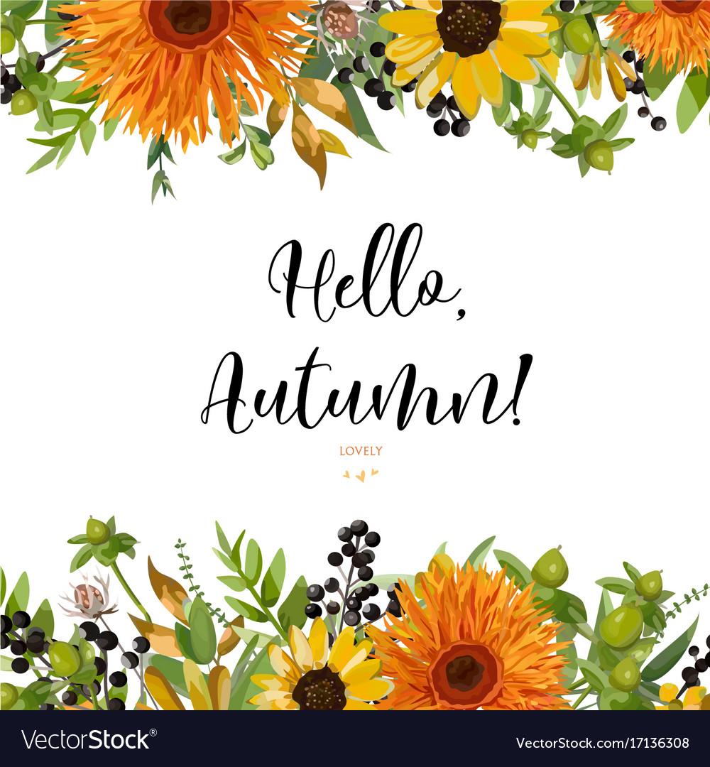 Floral card design autumn orange gerbera flower