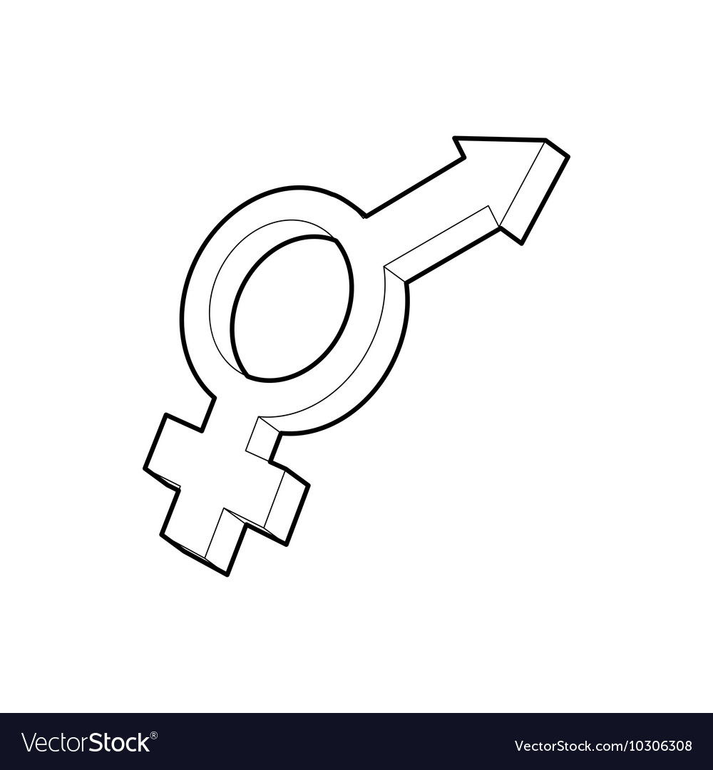 Male and female symbols icon outline style