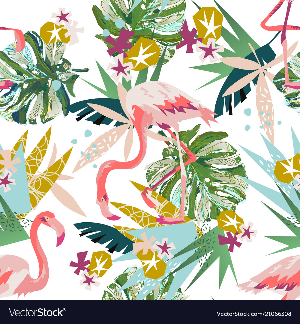 Pink flamingo seamless pattern isolated on white