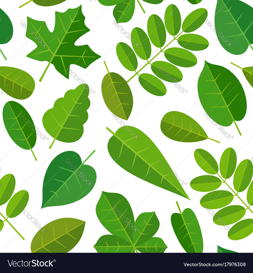 Seamless pattern leafs flat color