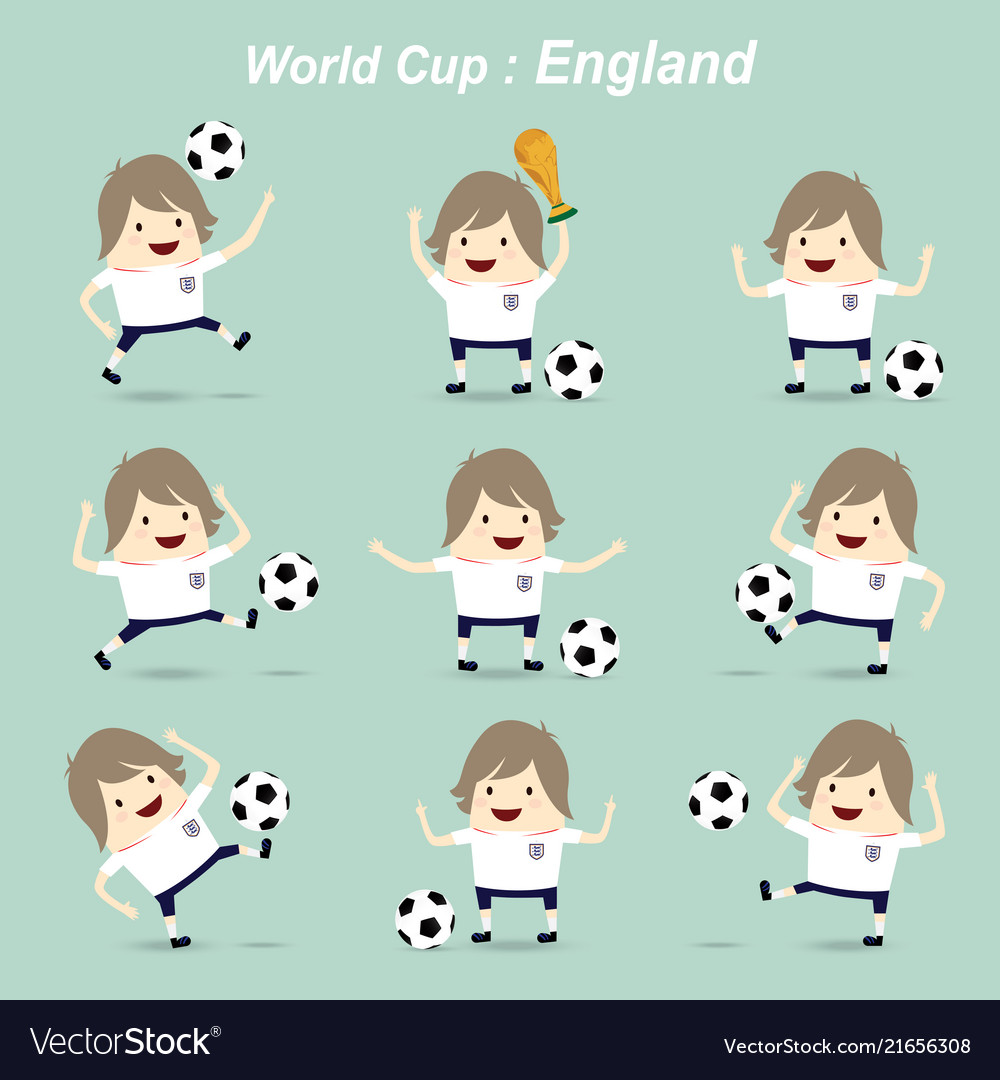 Set character football actions player england vector