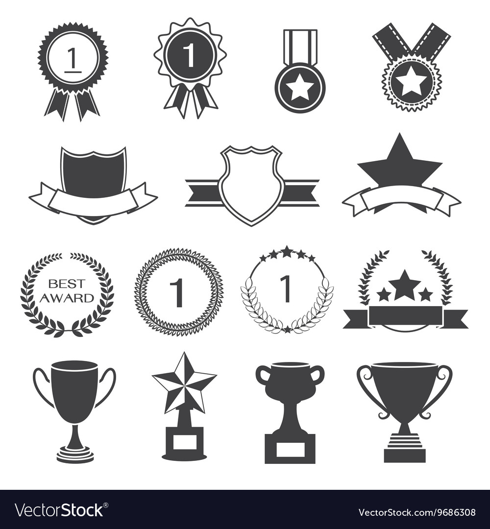 Set of Awards Prizes and Trophy Designs
