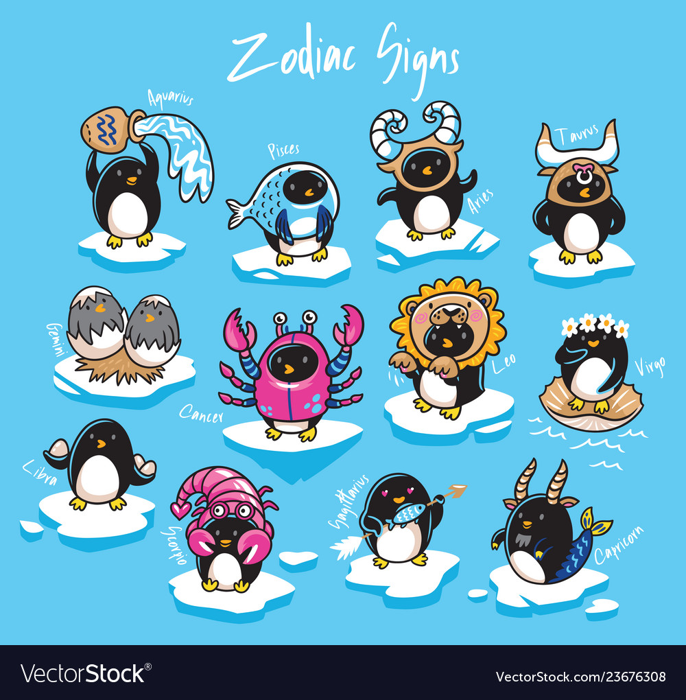 Set of penguins zodiac signs in cartoon style