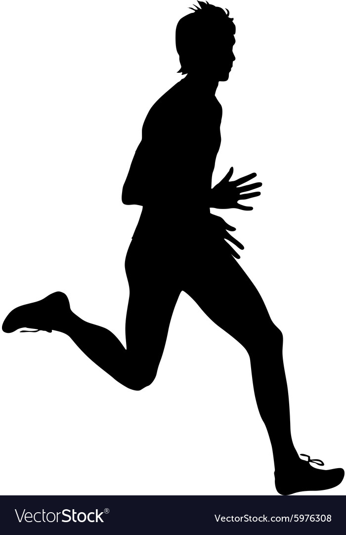 Silhouettes Runners on sprint men