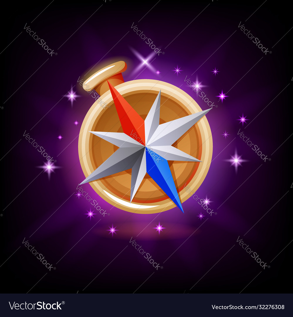 Sparkly compass gui gaming or mobile app icon on