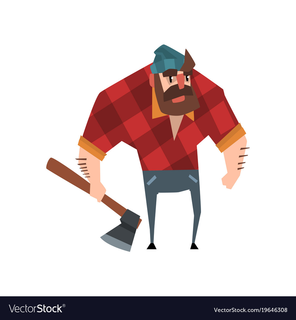 Strong bearded woodcutter character with axe in