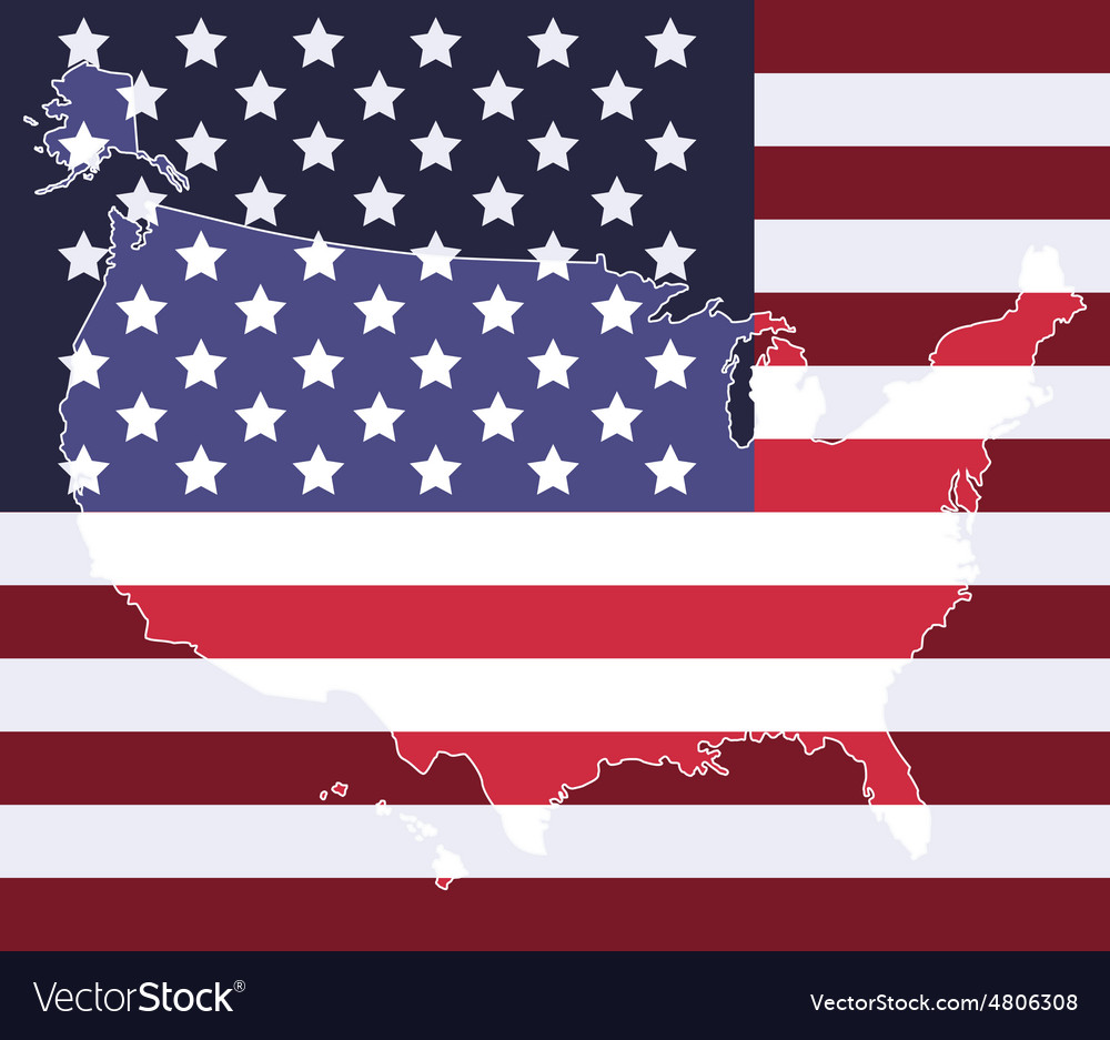 United states map on the national flag element vector image
