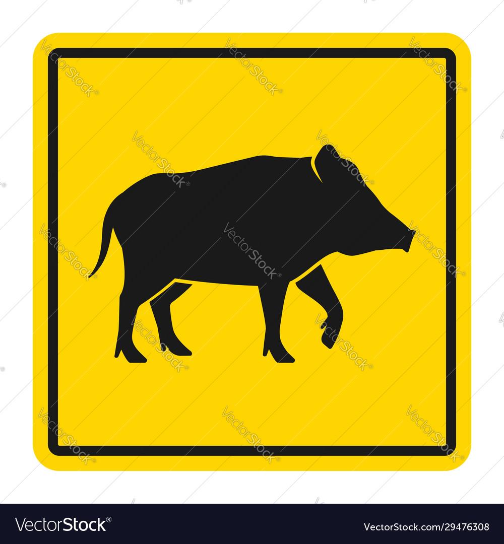Wild animals yellow road sign silhouette wild
