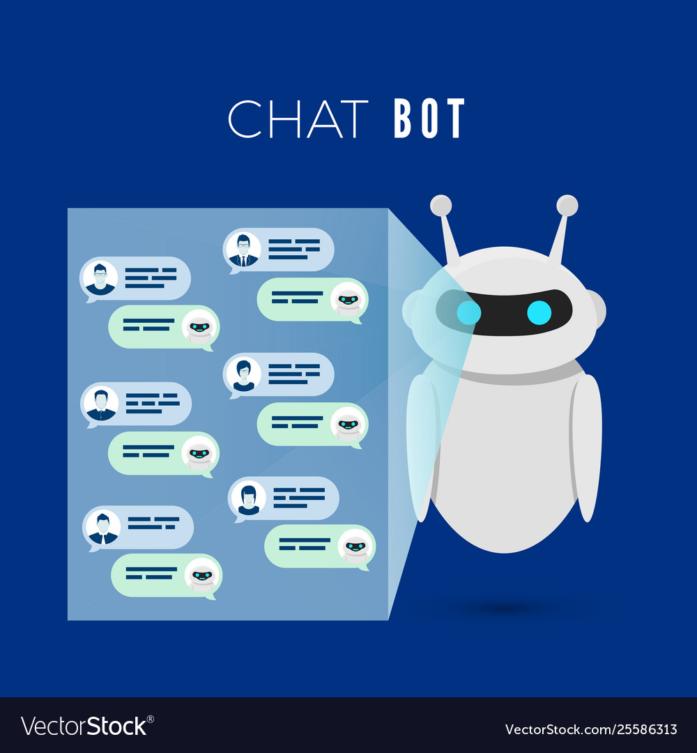 Chatbot concept robot projects a screen with