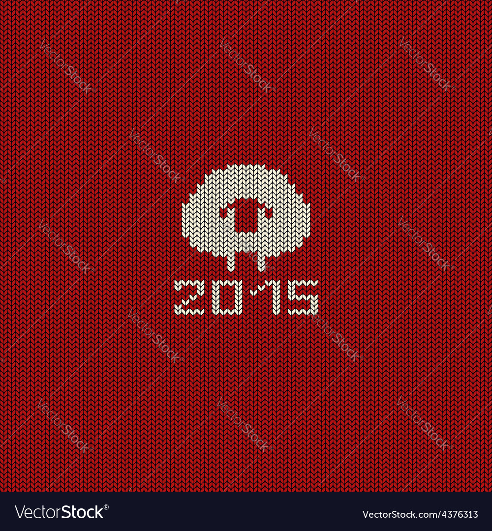 Knitted pattern card with funny sheep Royalty Free Vector