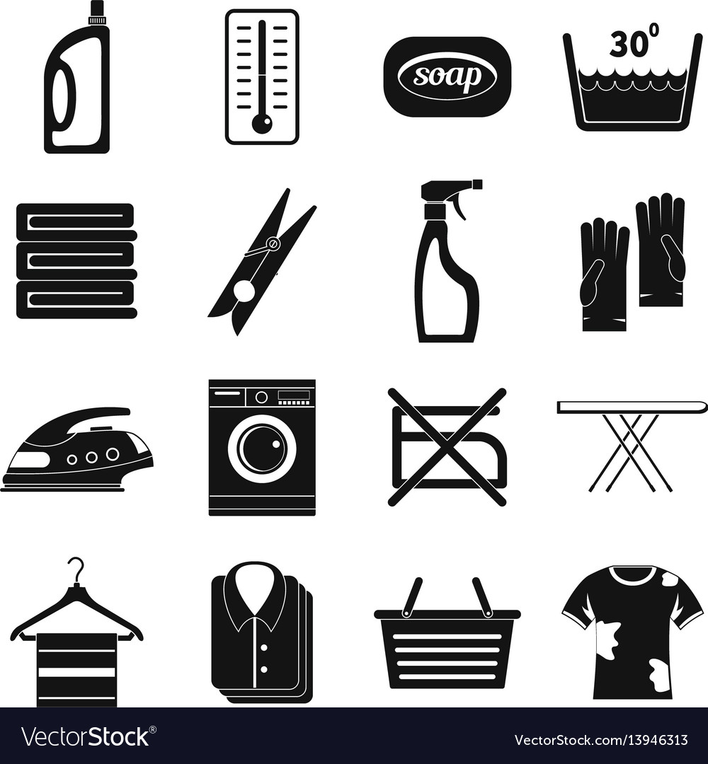 Laundry icons set simple style vector image