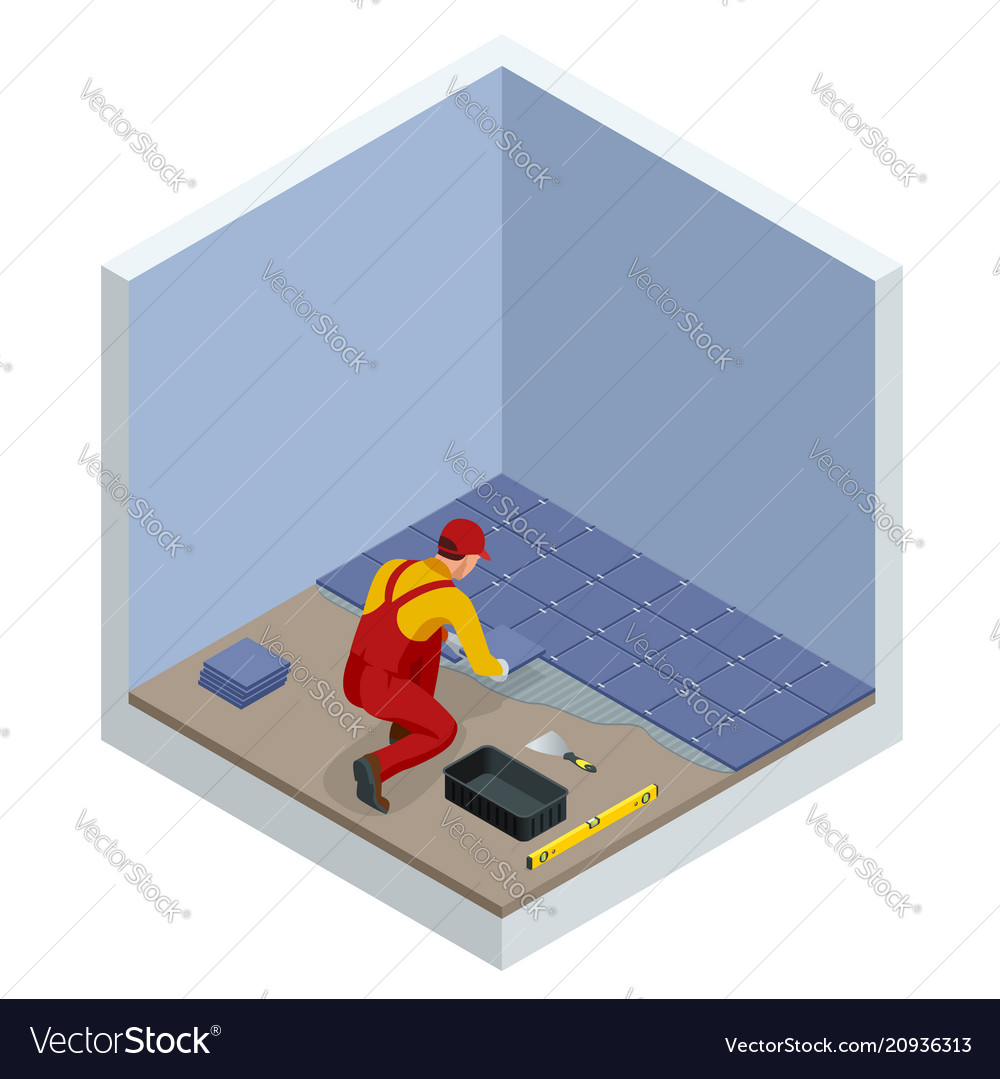 Laying tiles at home worker installing small Vector Image