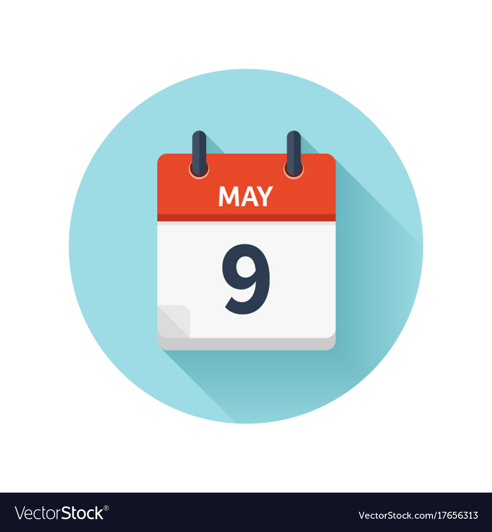 may 9 flat daily calendar icon date and royalty free vector