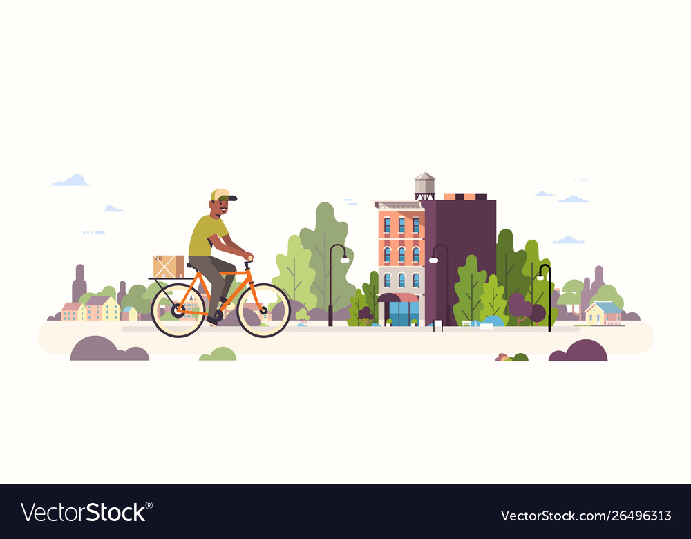 Postman in uniform riding bicycle carrying