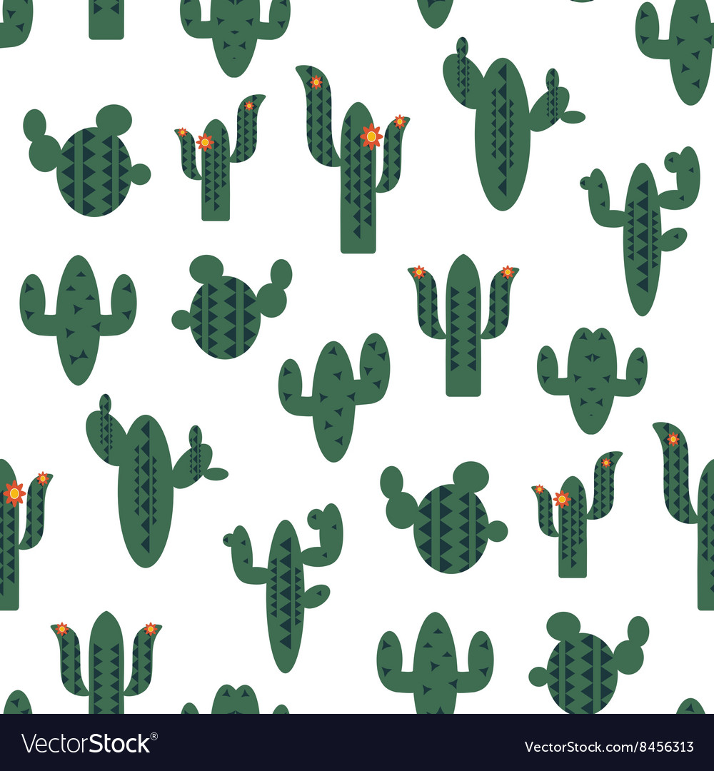 Seamless pattern with green cactuses on