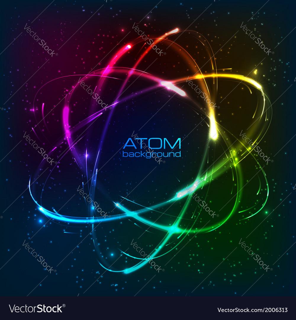 Shining neon lights atom model
