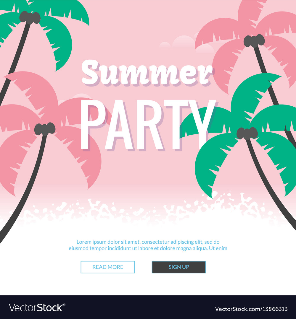 Summer party poster colorful sea vacation concept