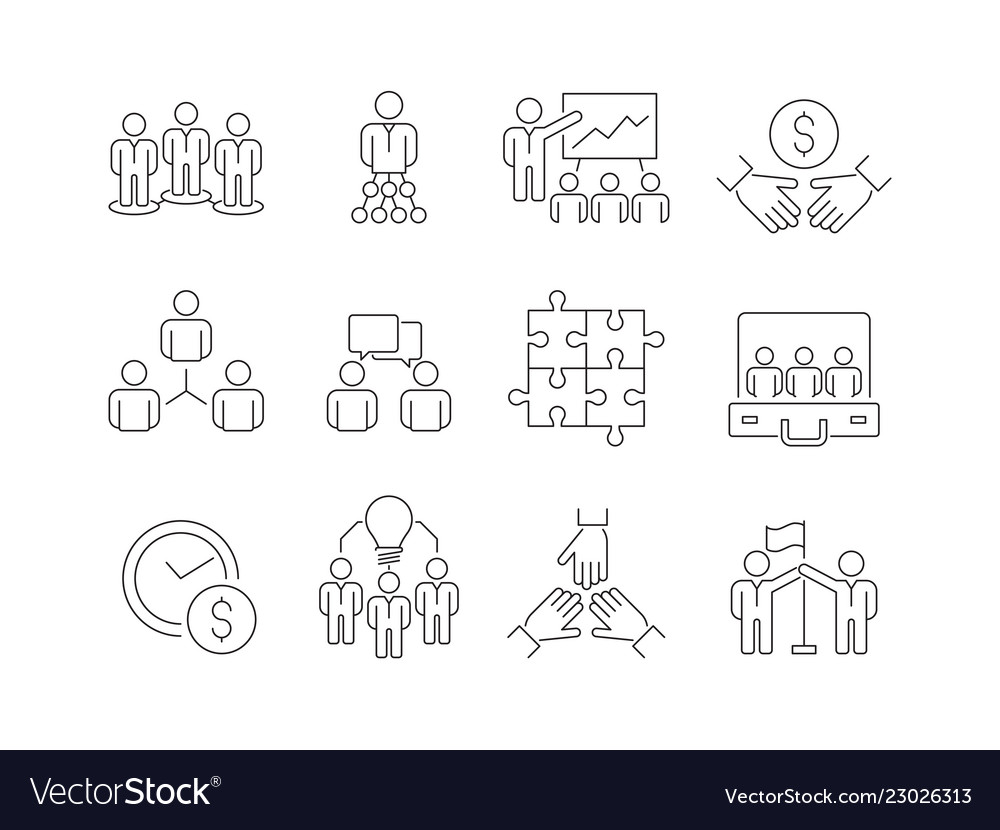 Team building icons work group of business people