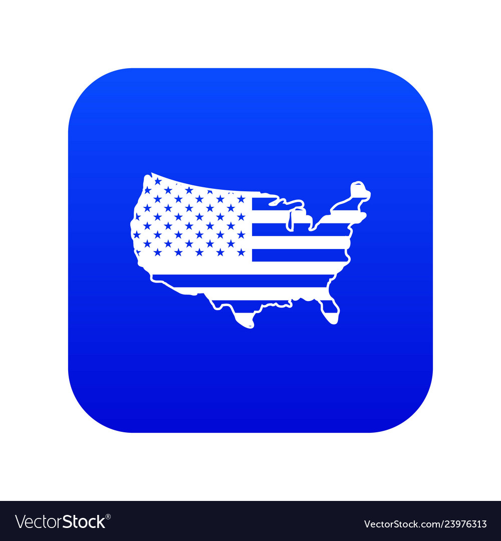Usa Map Icon Digital Blue Royalty Free Vector Image
