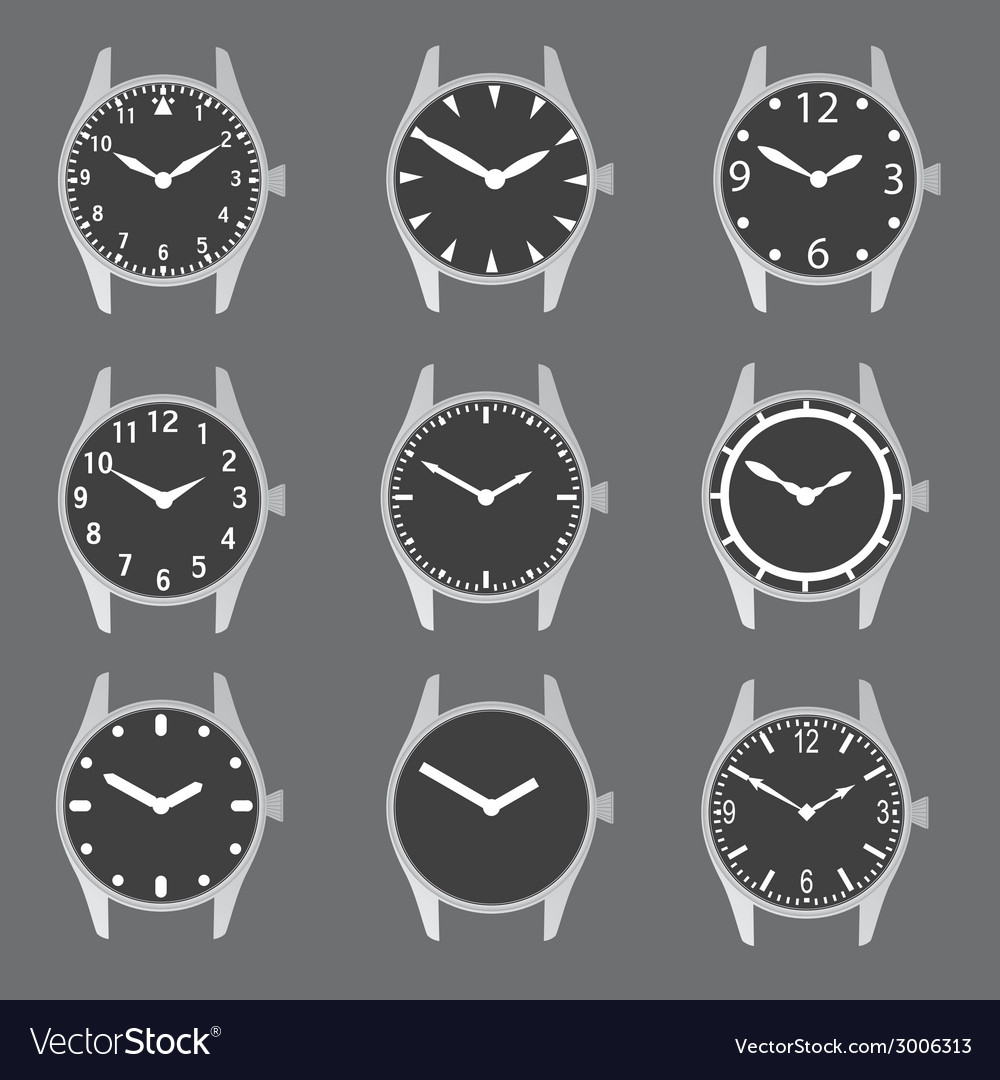 Various watch case and dials with hands eps10