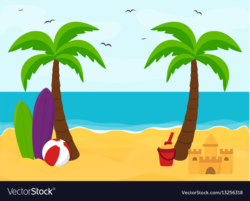 Beach with palms with place for text summer