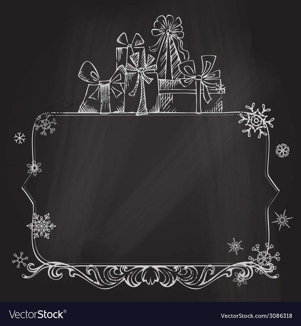 Christmas Chalkboard Background Vector Image