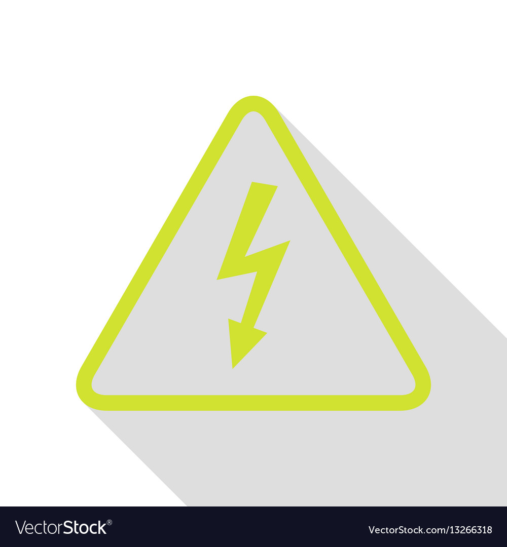 High voltage danger sign pear icon with flat