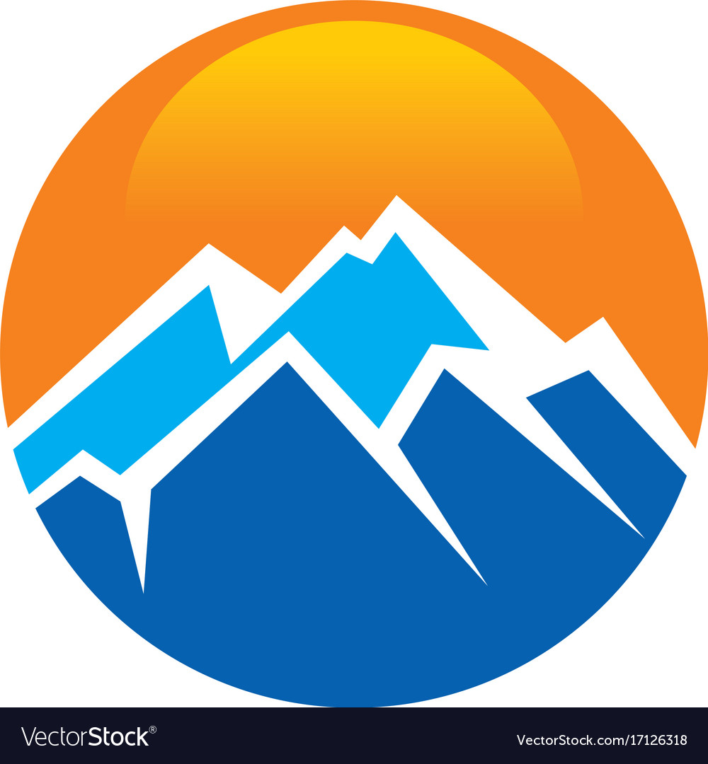 Mountain adventure travel round abstract logo