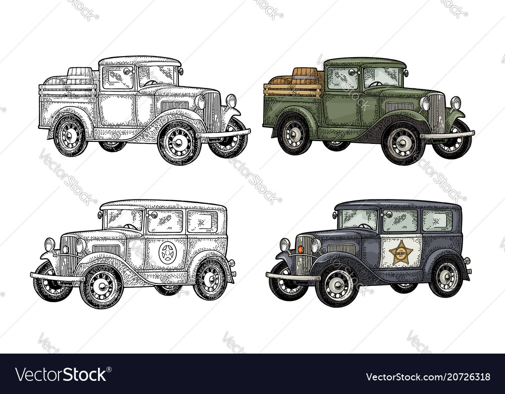 Retro police car and pickup truck with barrel vector image