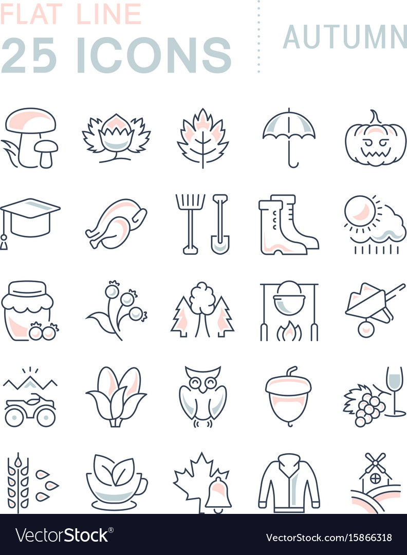 Set flat line icons autumn