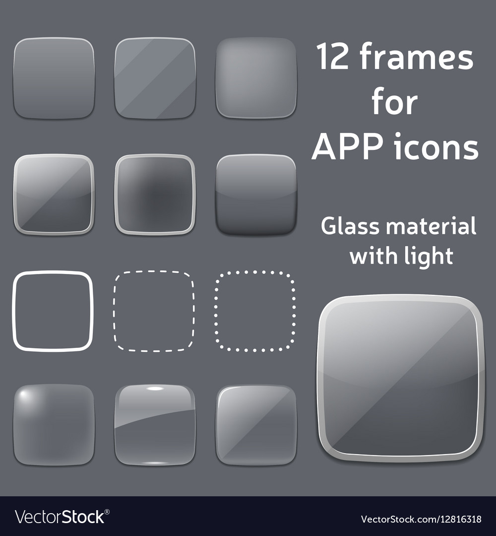 Set of empty glass frames for app icons
