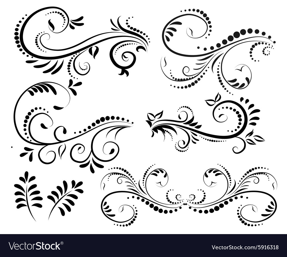 Swirl elements for design vector image