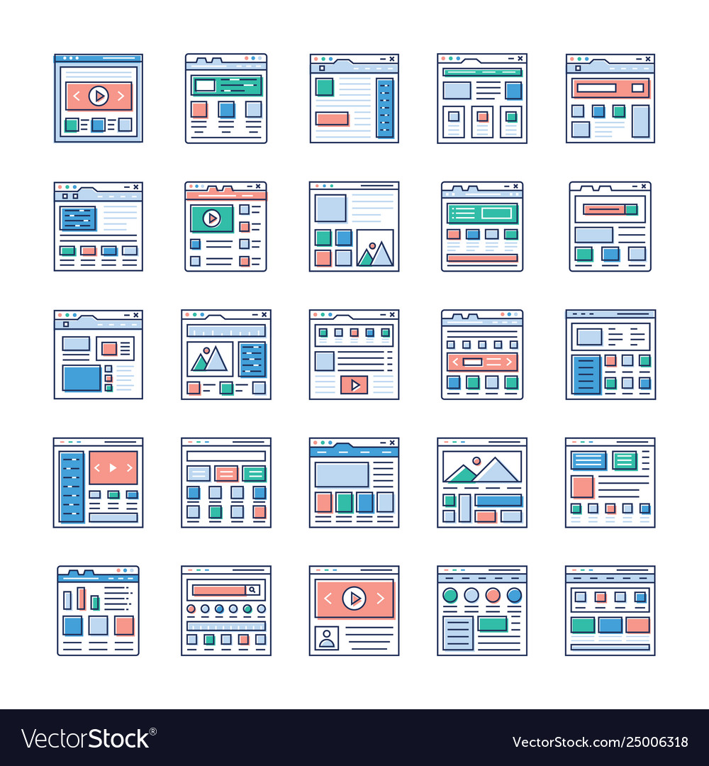 Website sitemaps flat icons pack