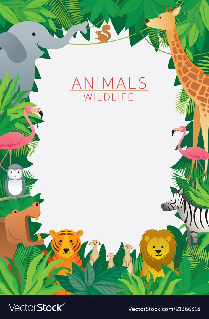 Wild animals in jungle frame