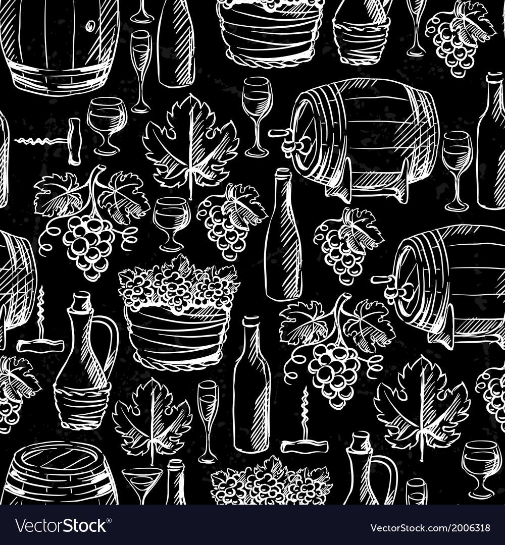 Wine seamless pattern drawn by chalk