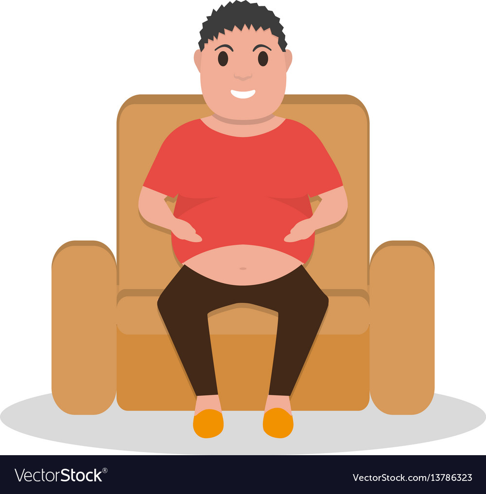 Cartoon fat man sitting in a armchair