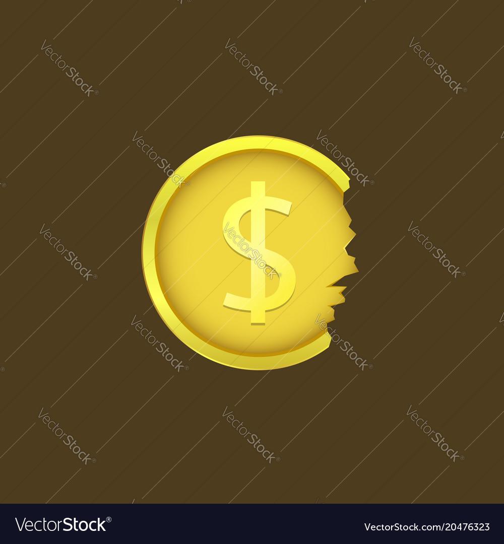 Cracked dollar coin