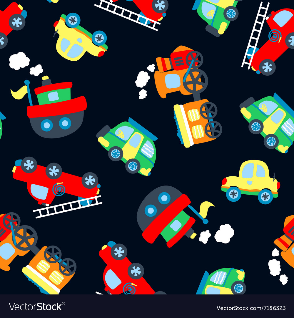 Cute little vehicles in a seamless pattern