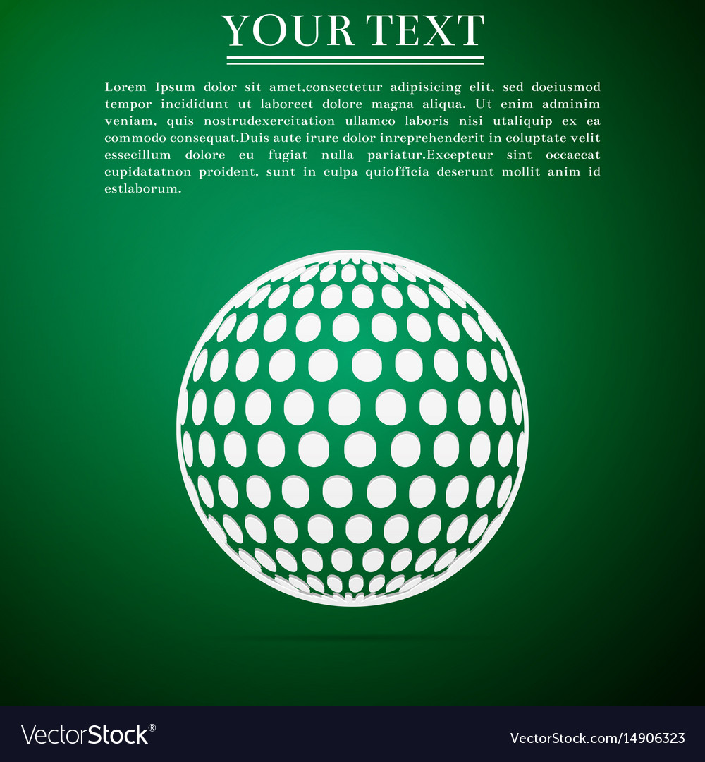 Golf ball flat icon on green background