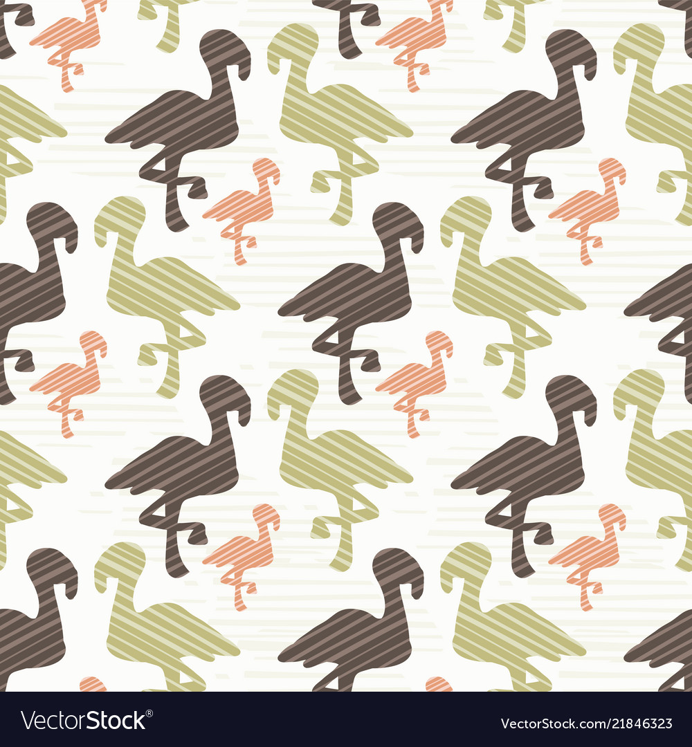 Green brown and pink nature flamingo silhouette