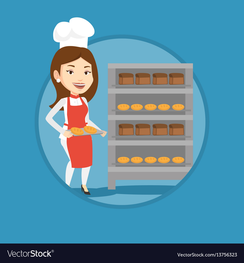 Happy young female baker holding tray of bread vector image