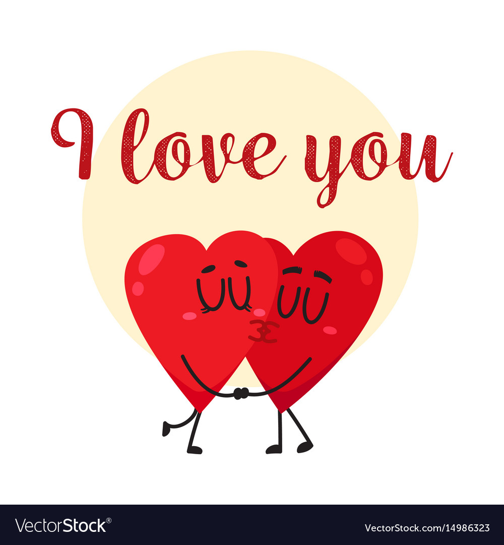 I Love You Greeting Card Design With Two Kissing