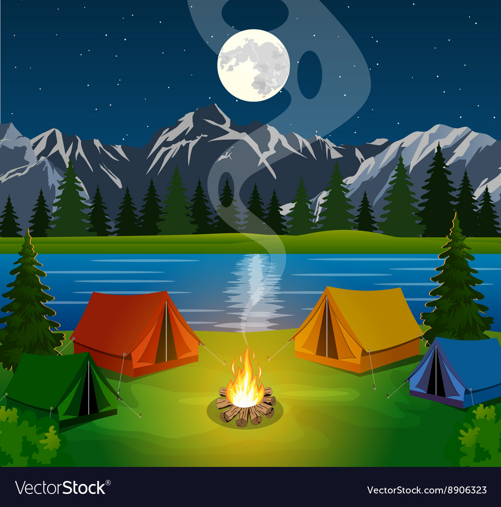 Poster showing a campsite with a campfire vector image