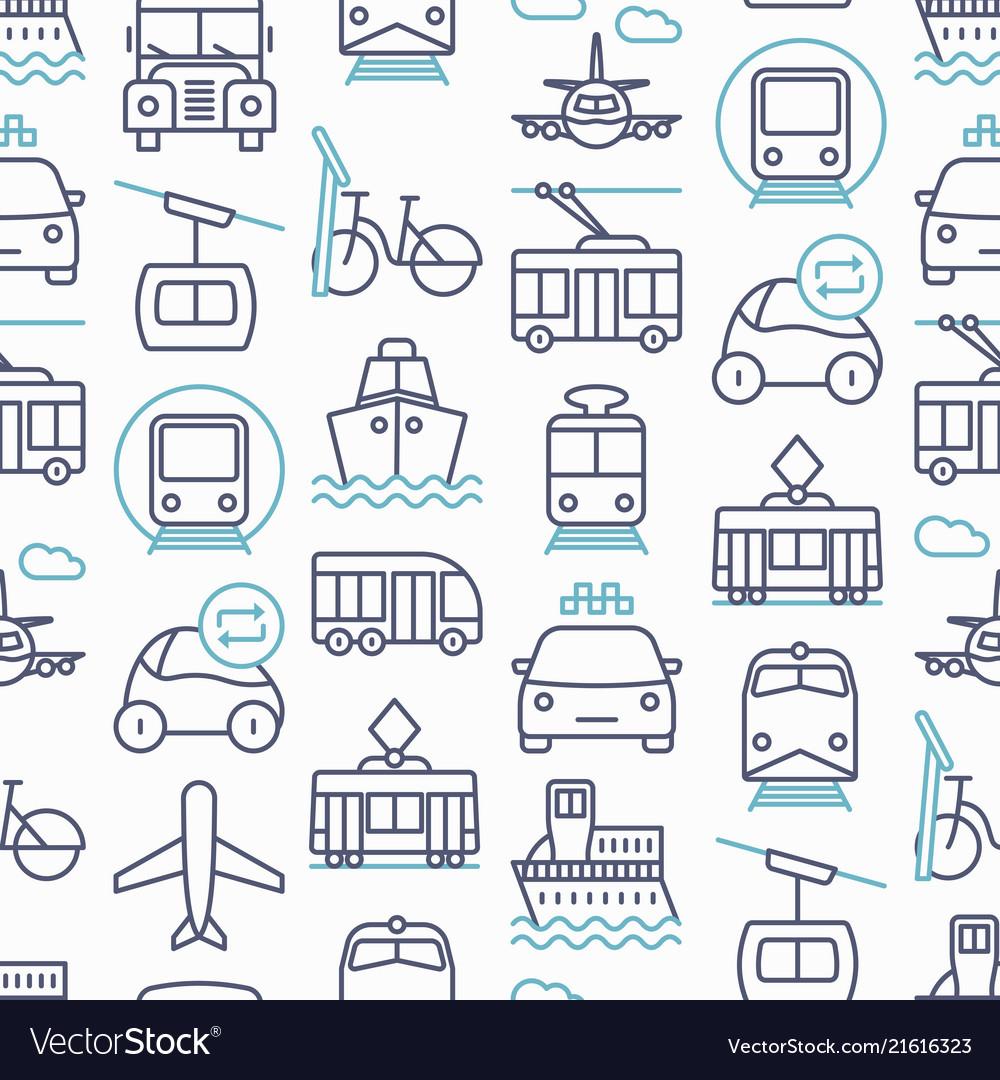 Public transport seamless pattern