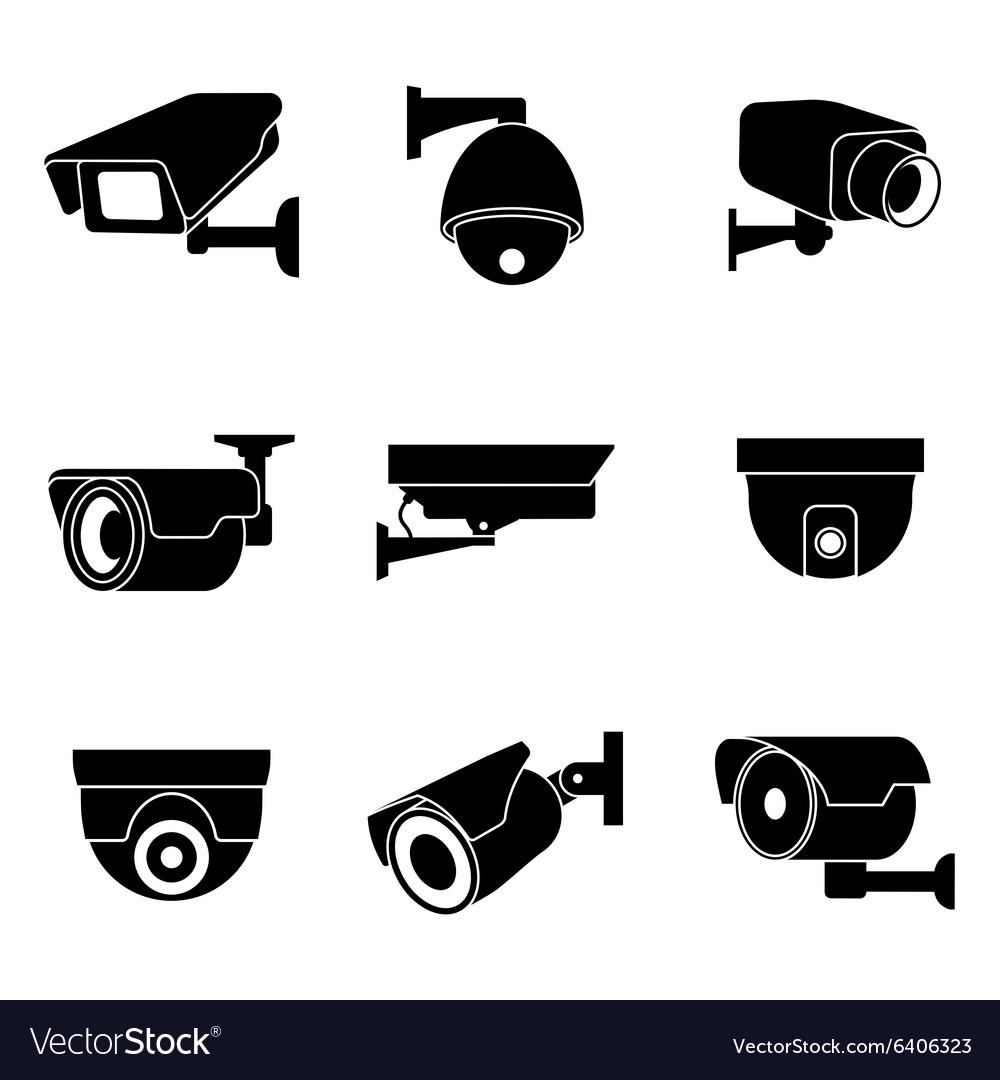 Security surveillance camera CCTV icons vector image