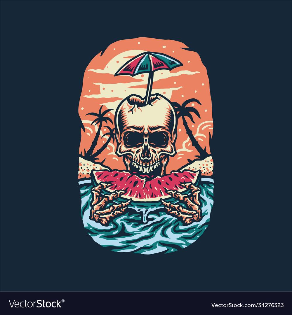 Skeleton eating watermelon summer beach t shirt g
