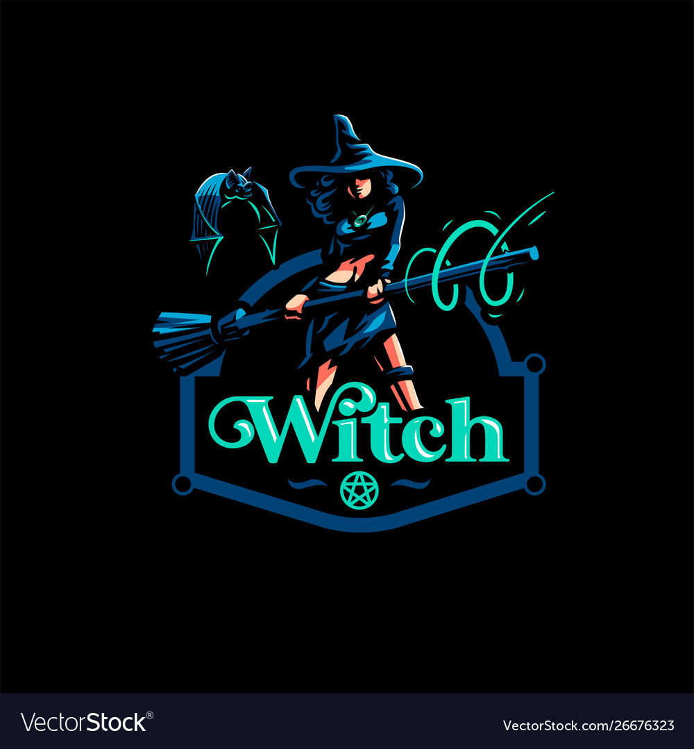Woman witch with a magic broom