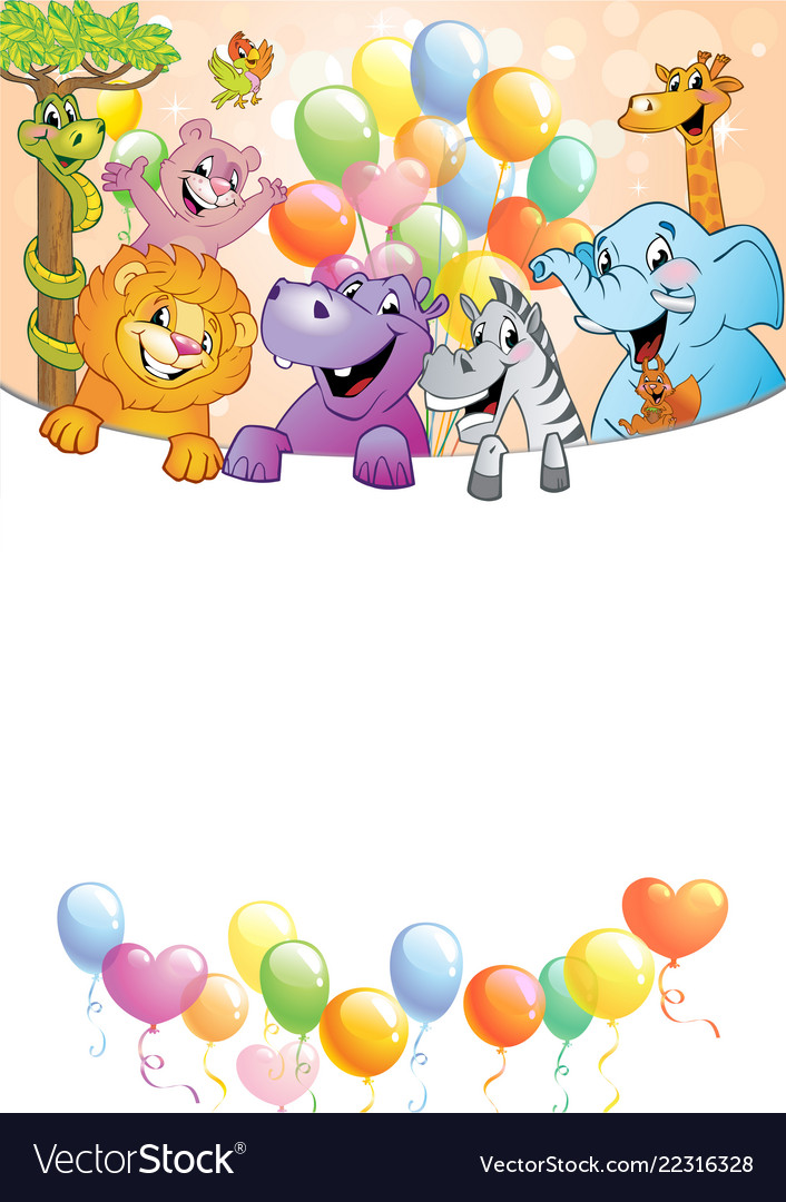 Cartoon cheerful animals holiday background