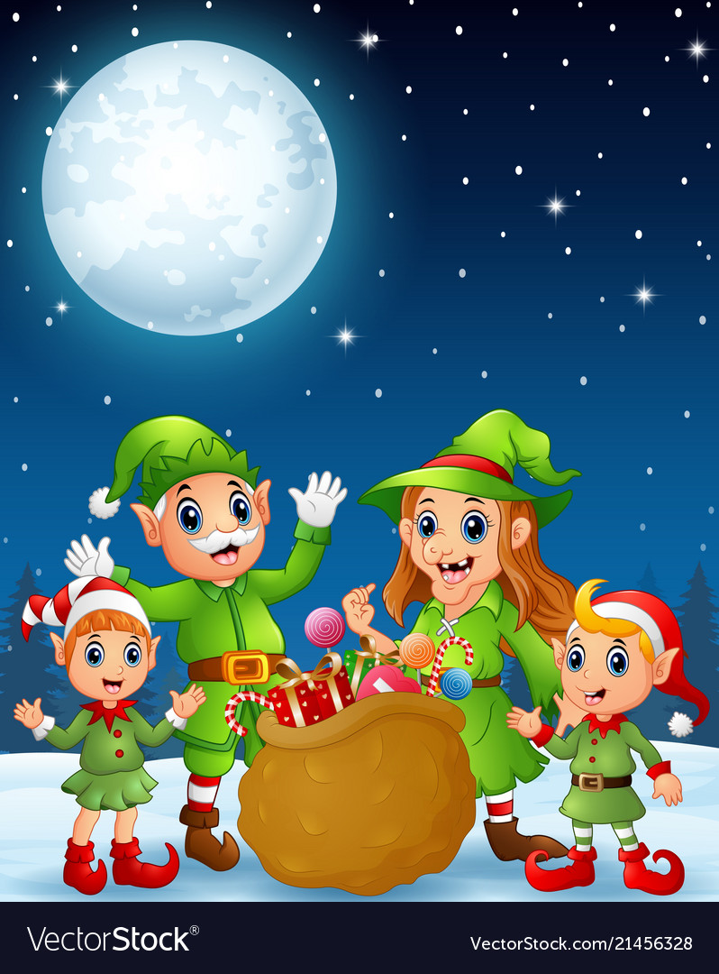 Cartoon christmas elves old man old witch with e